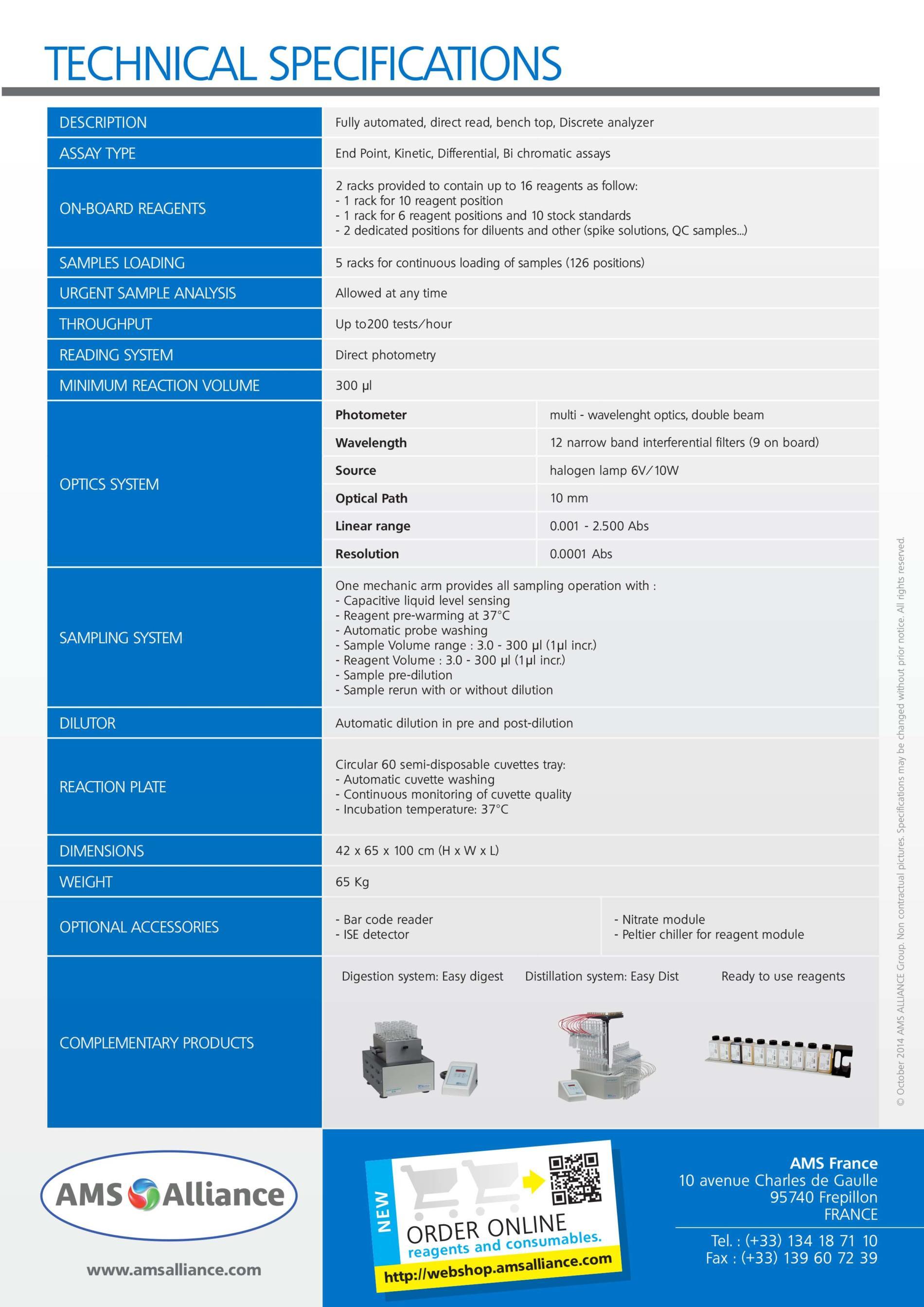 thông số kỹ thuật của máy phân tích bia - rượu - nước giải khát Smartchem 200